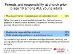 friends and responsibility at church prior to age 18 among all young adults