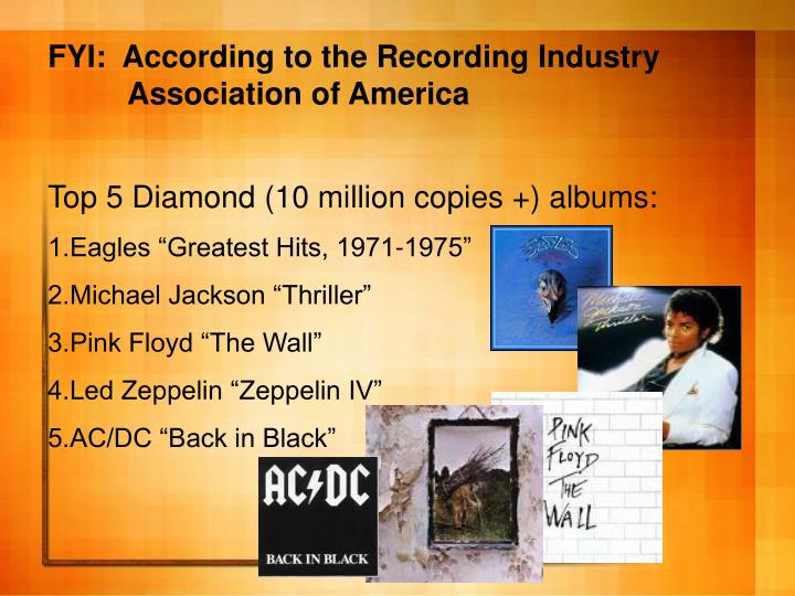 FYI:  According to the Recording Industry     	Association of America