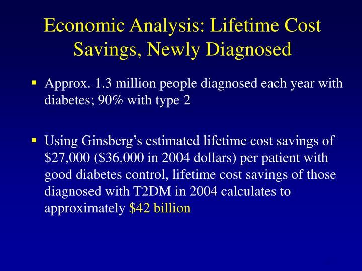 Economic Analysis: Lifetime Cost   Savings, Newly Diagnosed