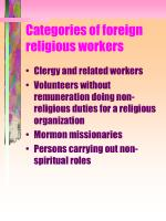 categories of foreign religious workers