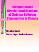 immigration and circulation of members of christian religious communities to canada