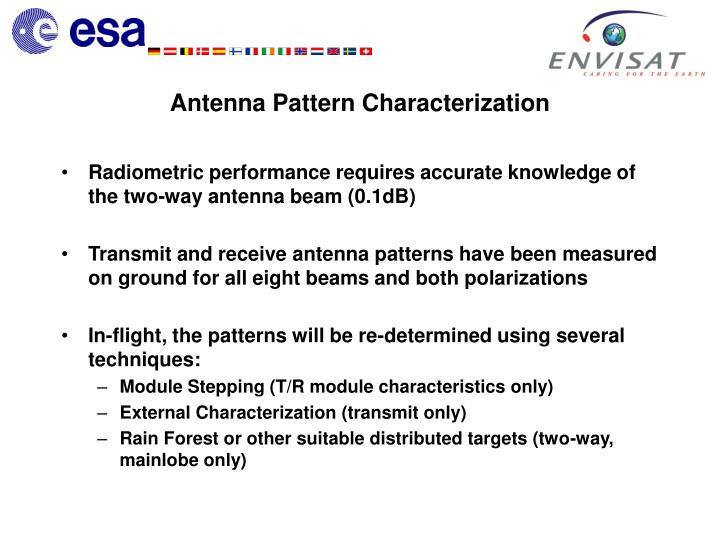 Radiometric performance requires accurate knowledge of the two-way antenna beam (0.1dB)