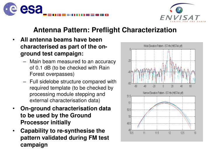 Antenna Pattern: Preflight Characterization