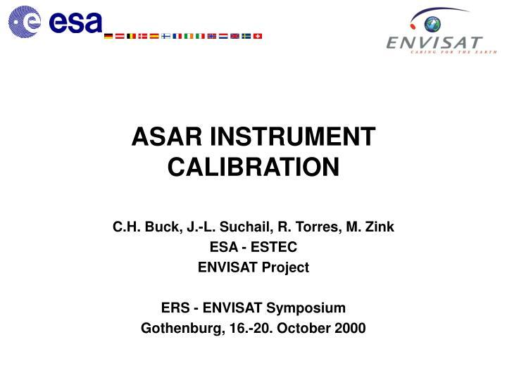 Asar instrument calibration