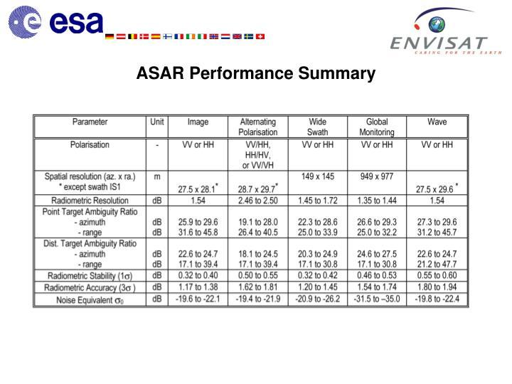 ASAR Performance Summary