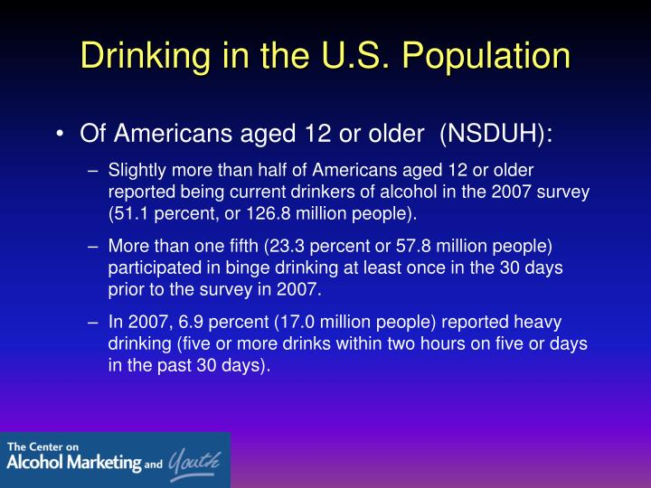 Drinking in the u s population