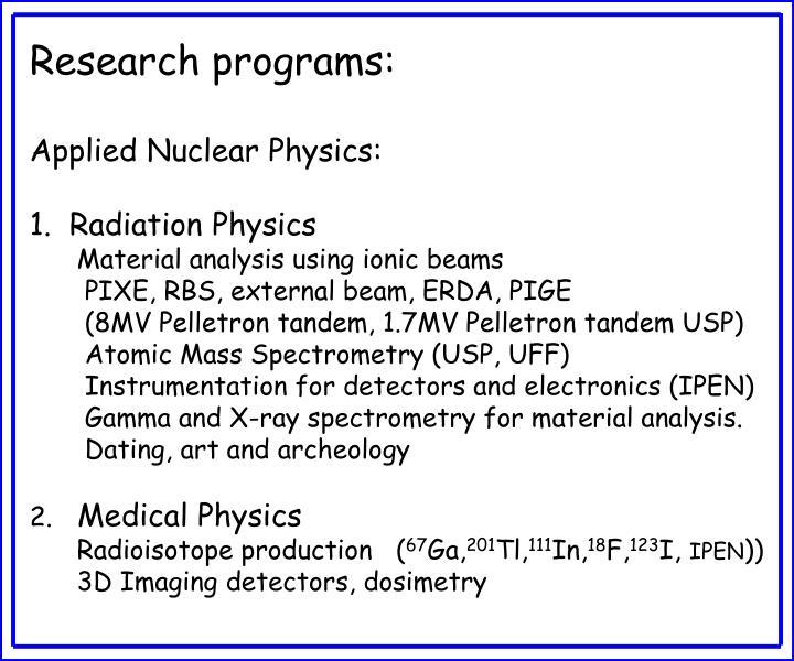 Research programs: