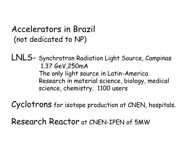Accelerators in Brazil