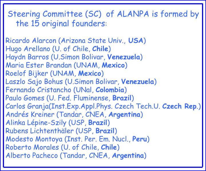 Steering Committee (SC)  of ALANPA is formed by the 15 original founders