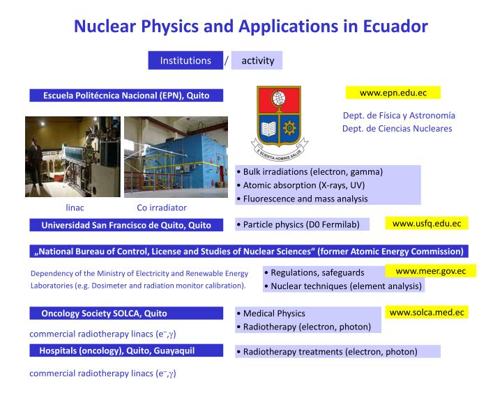Nuclear Physics and Applications in Ecuador