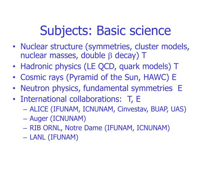 Subjects: Basic science