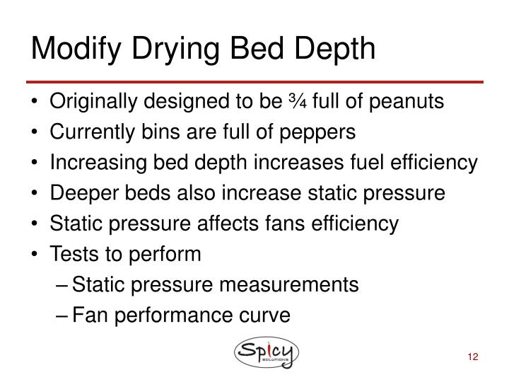 Modify Drying Bed Depth