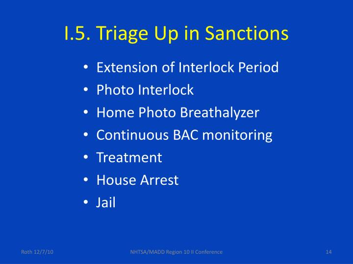 I.5. Triage Up in Sanctions