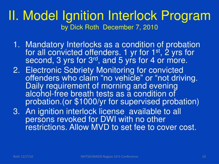 II. Model Ignition Interlock Program