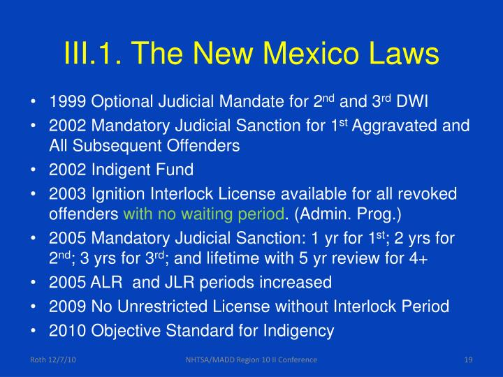III.1. The New Mexico Laws