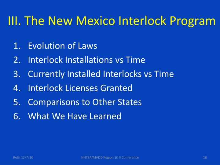 III. The New Mexico Interlock Program