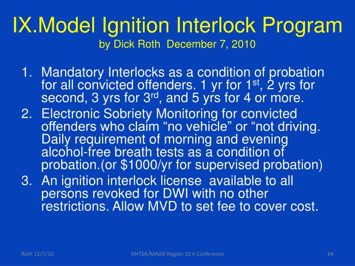 IX.Model Ignition Interlock Program