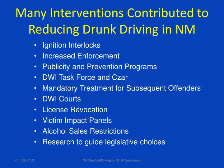 Many Interventions Contributed to Reducing Drunk Driving in NM