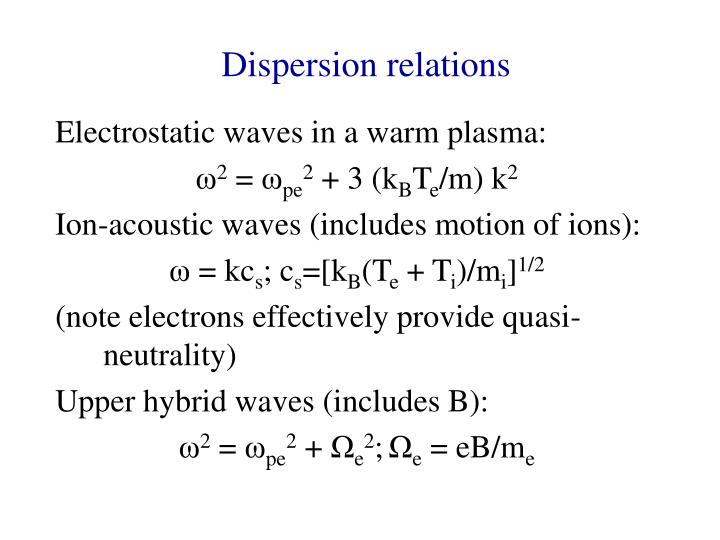 Dispersion relations