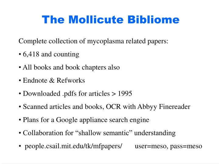 The Mollicute Bibliome