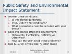 public safety and environmental impact statement