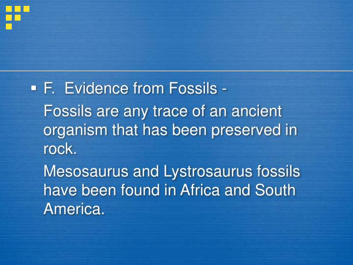 F.  Evidence from Fossils -