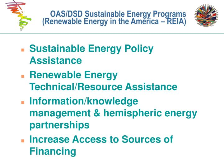 OAS/DSD Sustainable Energy Programs (Renewable Energy in the America – REIA)