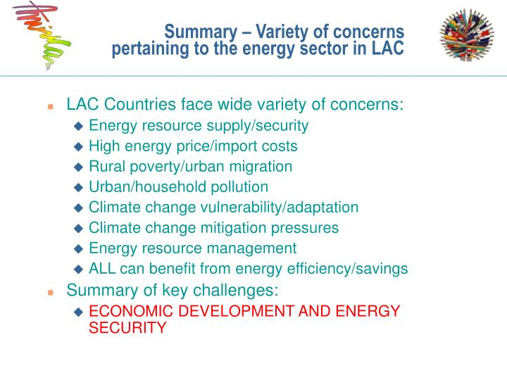 Summary – Variety of concerns pertaining to the energy sector in LAC