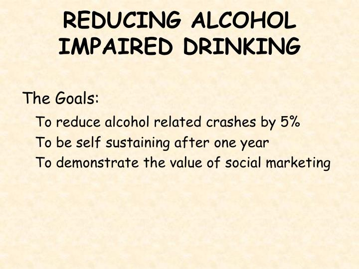 REDUCING ALCOHOL IMPAIRED DRINKING