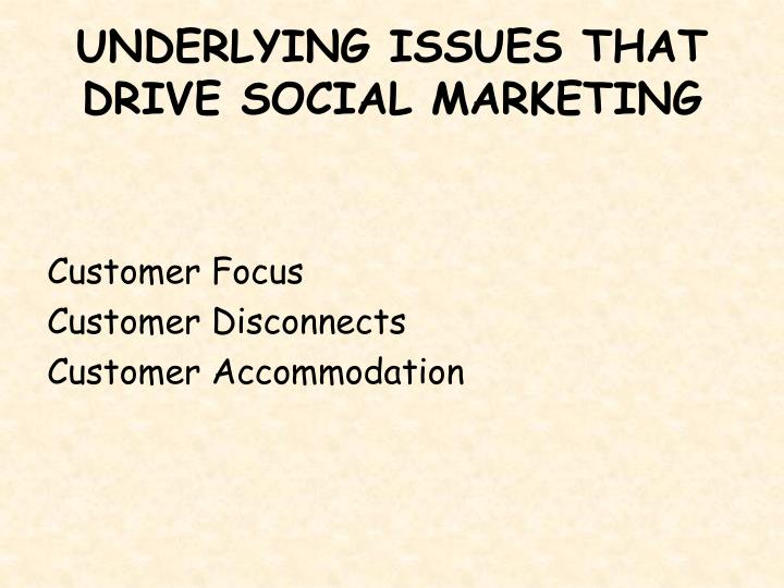 UNDERLYING ISSUES THAT DRIVE SOCIAL MARKETING