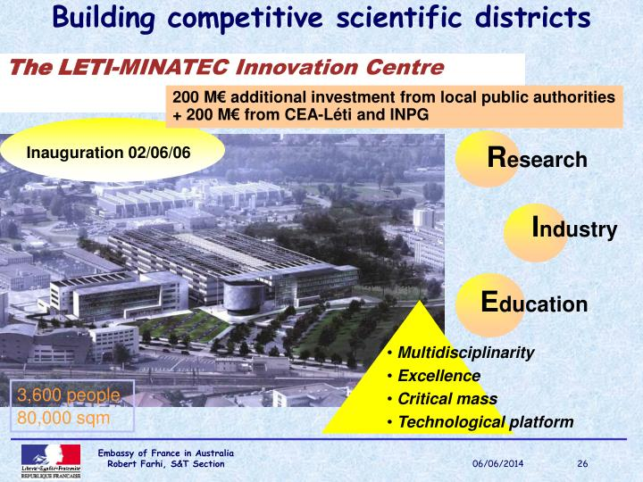 Building competitive scientific districts