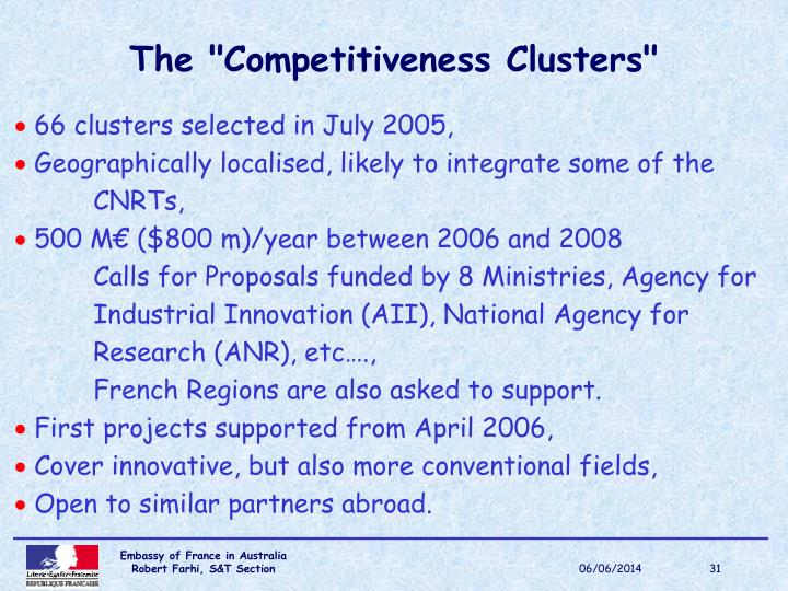 """The """"Competitiveness Clusters"""""""