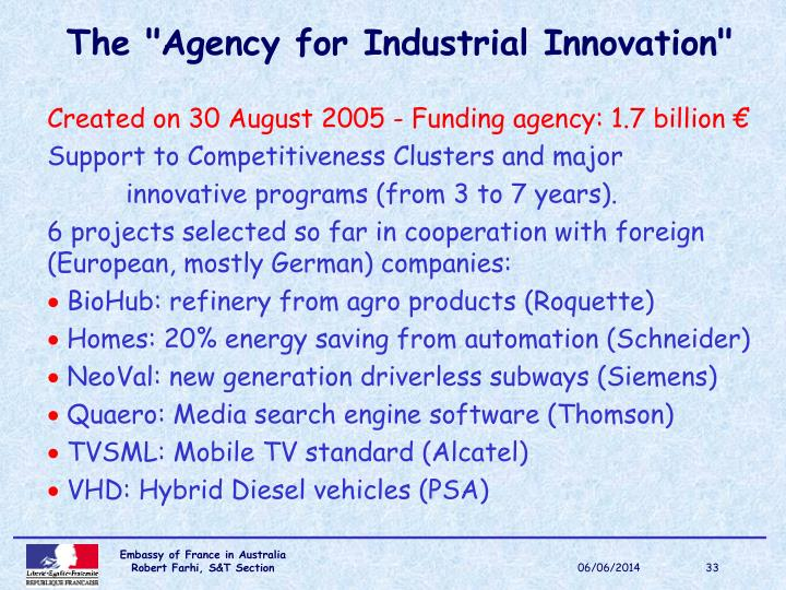 """The """"Agency for Industrial Innovation"""""""
