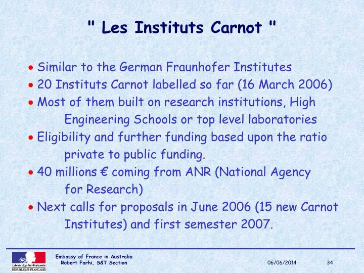 """"""" Les Instituts Carnot """""""