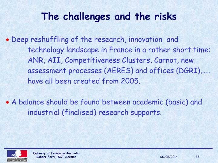 The challenges and the risks