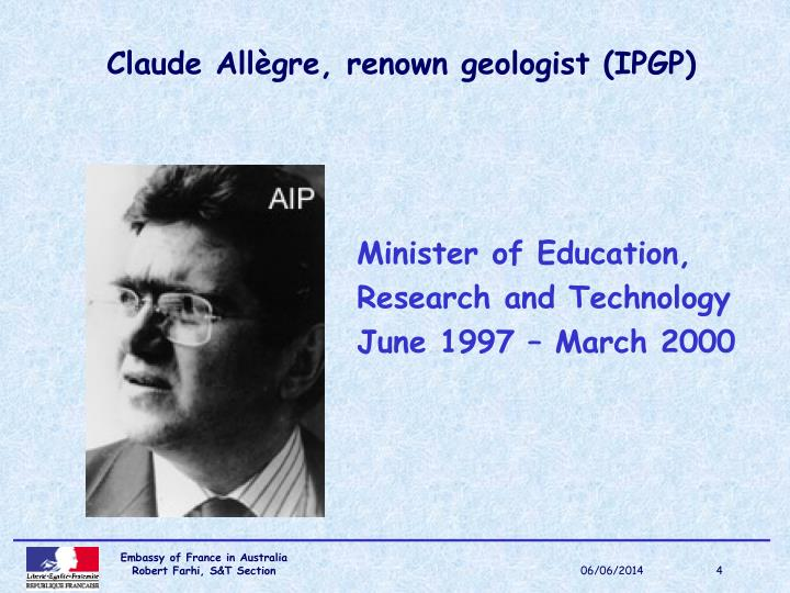 Claude Allègre, renown geologist (IPGP)