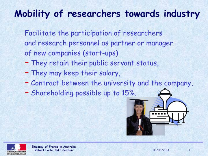 Mobility of researchers towards industry