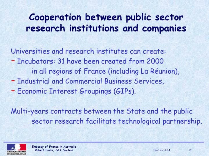 Cooperation between public sector research institutions and companies