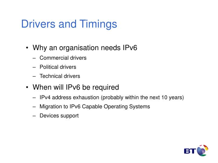 Drivers and Timings