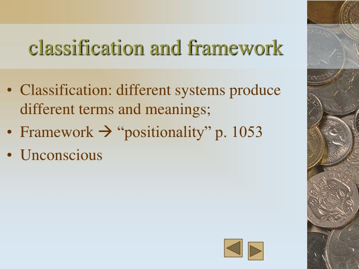 classification and framework