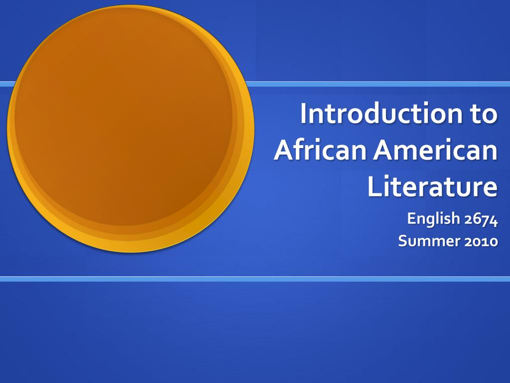 introduction to african american literature l.