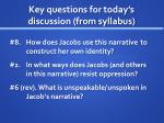key questions for today s discussion from syllabus