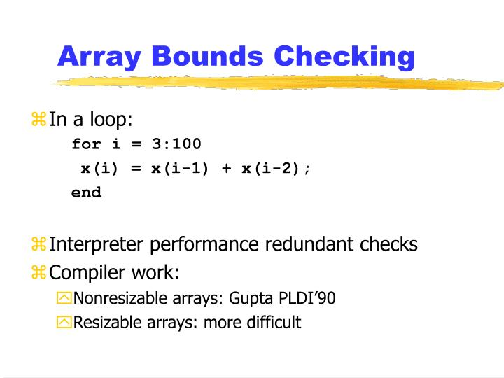Array Bounds Checking