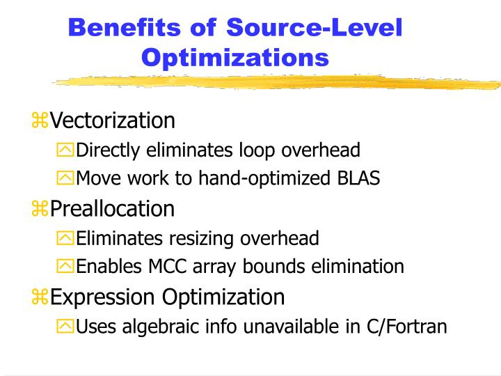 Benefits of Source-Level Optimizations
