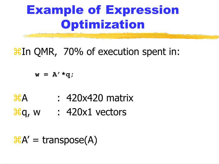 Example of Expression Optimization