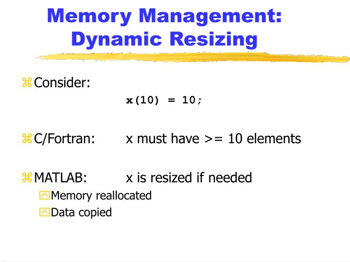 Memory Management: Dynamic Resizing