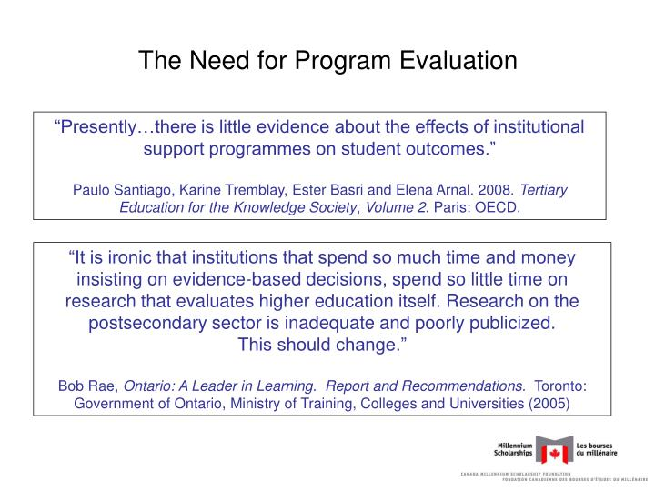 The Need for Program Evaluation