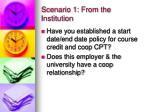 scenario 1 from the institution