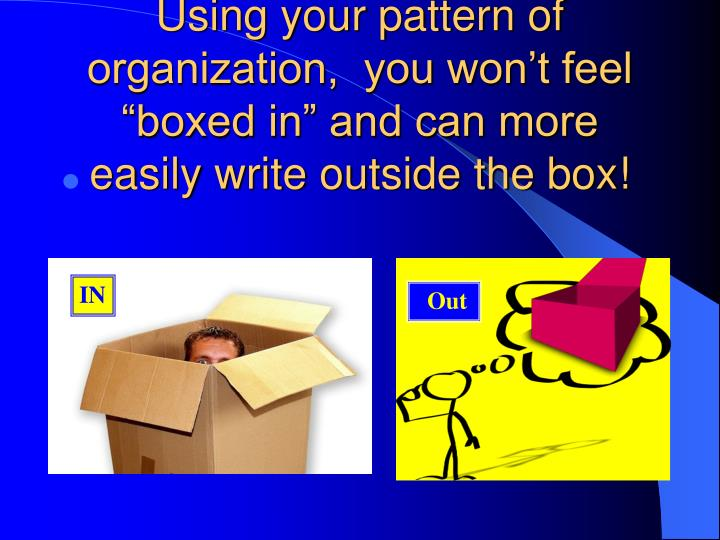 """Using your pattern of organization,  you won't feel """"boxed in"""" and can more easily write outside the box!"""