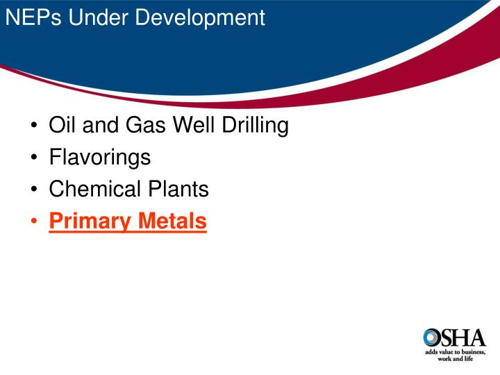NEPs Under Development